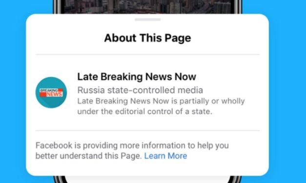 Facebook  apporrà un'etichetta sui post pubblicati da media controllati dai governi